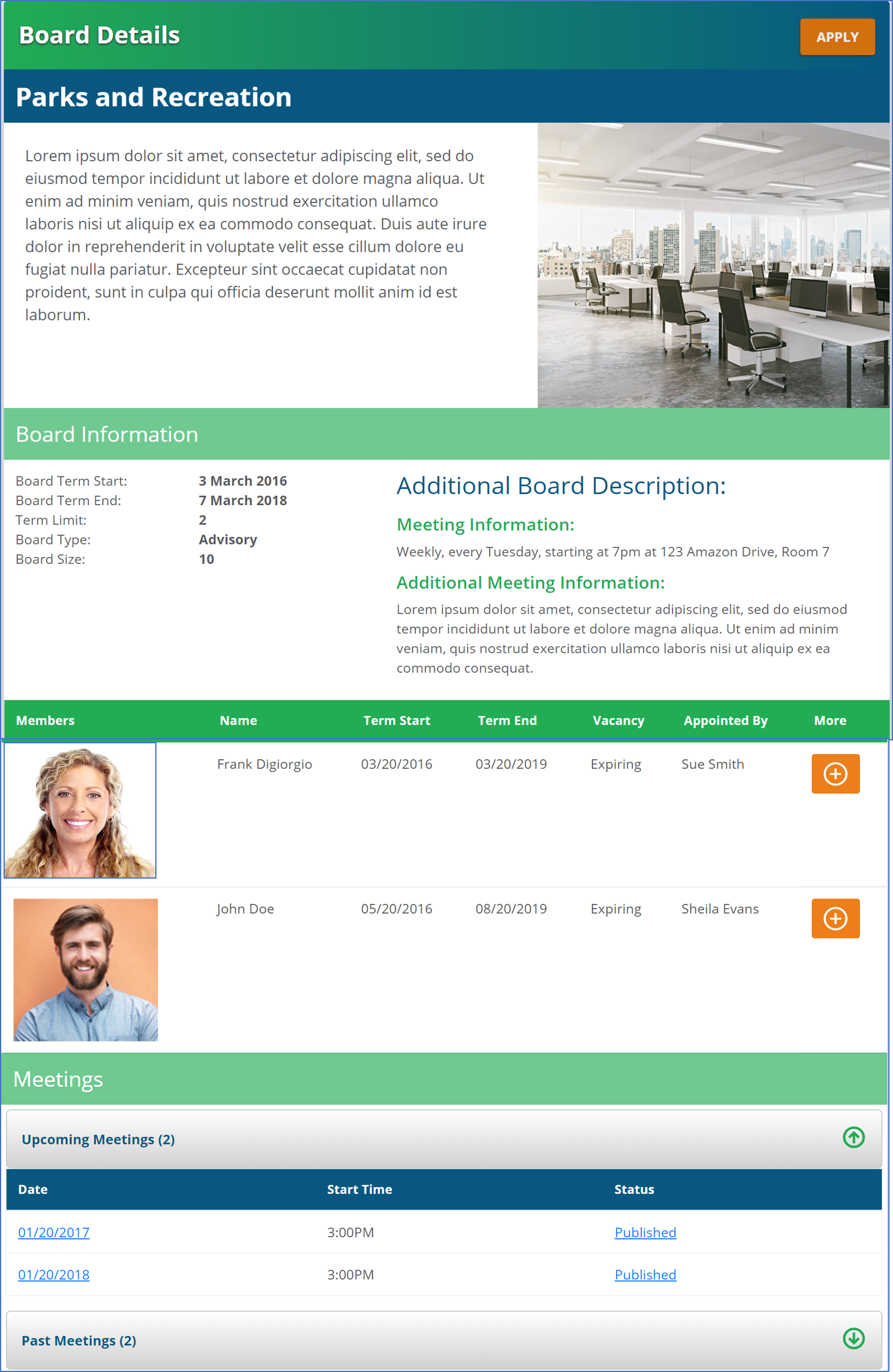Board Manager Public Website View